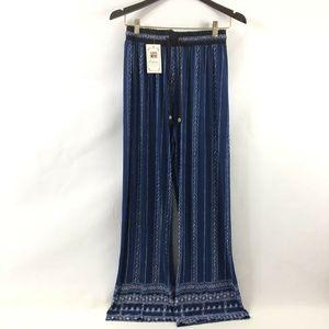New Womens Semi Sheer Wide Leg Pants Small Blue